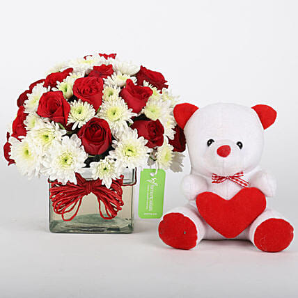 Roses & Daisies Vase with Teddy Bear Combo: Flower N Teddy
