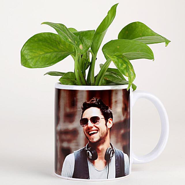 Money Plant In Stylish Personalised Mug-White: Bhai Dooj Personalised Gifts