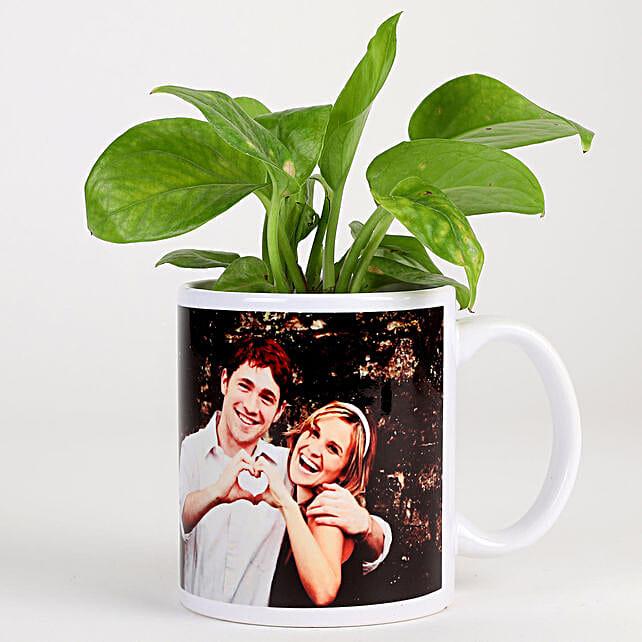 Money Plant In White Personalised Mug: Personalised Pot plants