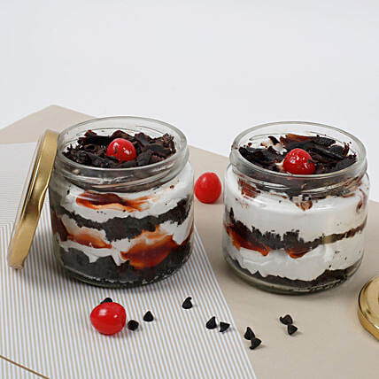 Set of 2 Sizzling Black Forest Jar Cake: Romantic Gifts for Her