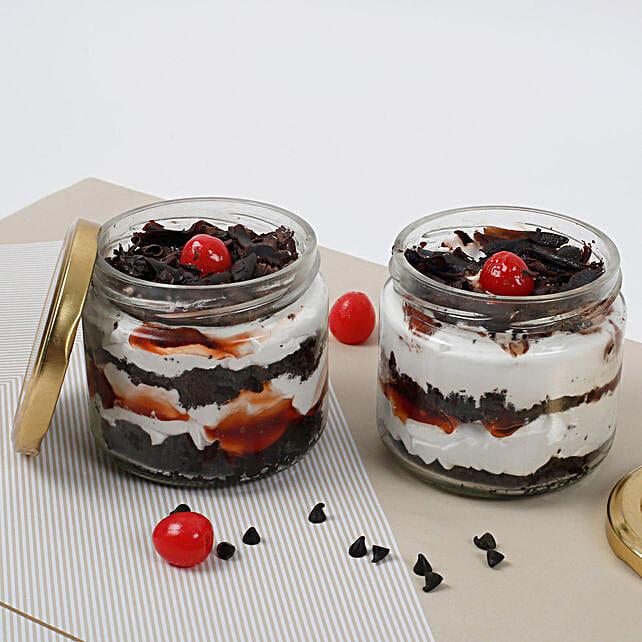 Set of 2 Sizzling Black Forest Jar Cake: Birthday Cakes Chandigarh
