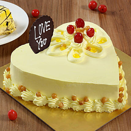 Heart Shaped Butterscotch Cake: Send Heart Shaped Cakes to Jaipur