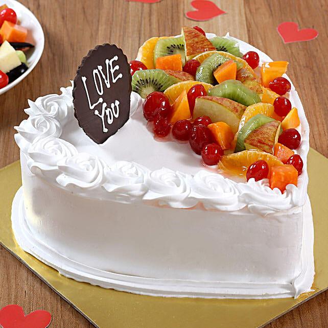 Heart Shaped Vanilla Fruit Cake: Heart Shaped Cakes to Faridabad