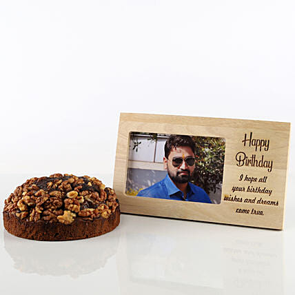 Dates & Walnuts Dry Cake & Photo Frame Combo:
