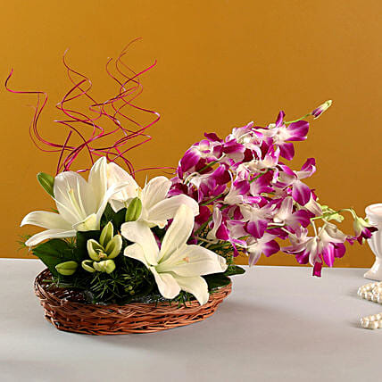 Lilies And Orchids Basket Arrangement: Bhai Dooj Gifts Dehradun