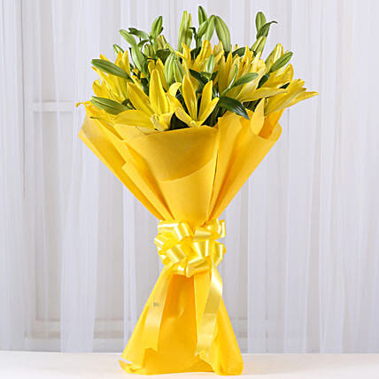 Bright Yellow Asiatic Lilies: Karwa Chauth Gifts Mumbai India