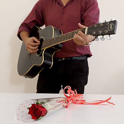 Single Red Rose Musical Combo: Anniversary Gifts for Parents