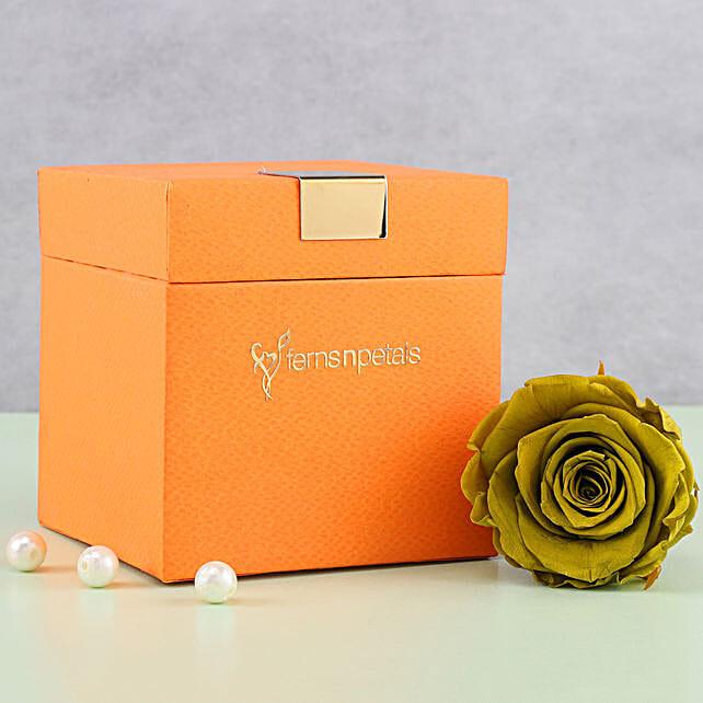 Olive Green Forever Rose in Orange Box: Flowers to Agartala