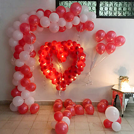 Glowing Red & White Balloon Decor: Balloon Decorations