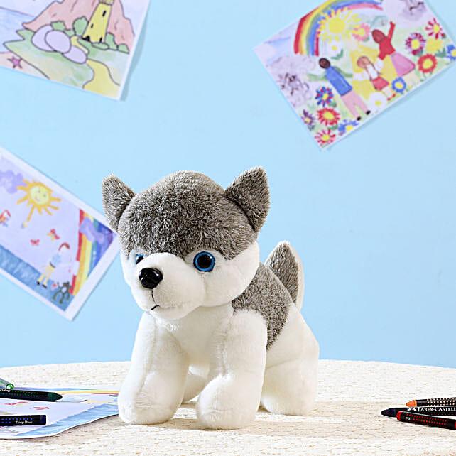 Grey Husky Dog Soft Toy: Send Soft Toys