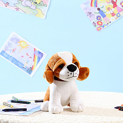 Standing Dog Soft Toy- White: Soft Toys Gifts