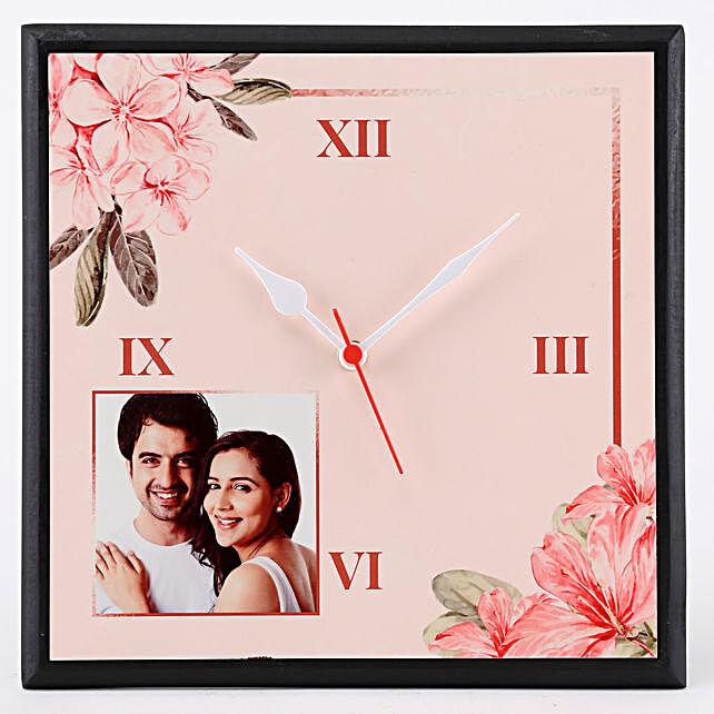 Personalised Floral Print Wall Clock: Personalised Clocks