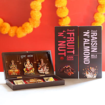 Chocolate with Spiritual Gift Box: Pooja Samagri Boxes