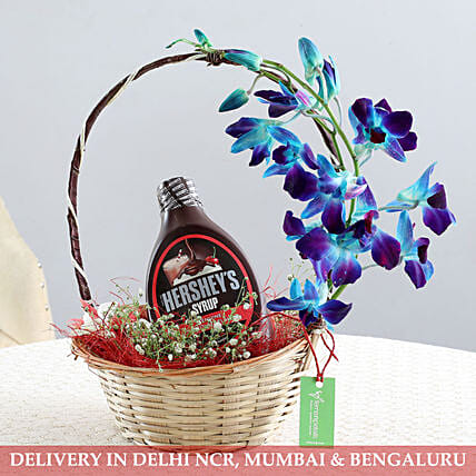 Basket Of Flowers & Chocolate Syrup: Gourmet Gifts for Him