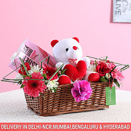 Floral Basket Of Goodies & Teddy Bear: Gift Baskets for Womens Day