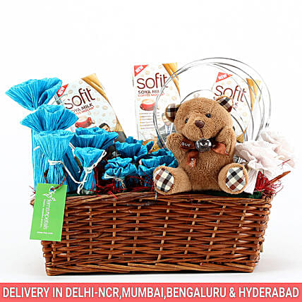 Sofit Soya Milk & Teddy Bear Basket: Send Womens Day Gift Baskets