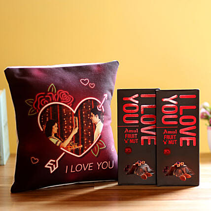 I Love You Cushion & Amul Chocolates Combo: Flowers with Chocolates