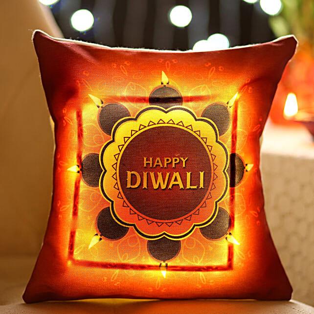 Bright Diwali Wishes LED Cushion: Diwali Gifts for Girlfriend