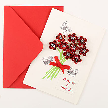 Thank You Red Bouquet Greeting Card: Just Because