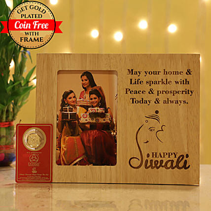 Free Gold Plated Coin With Engraved Photo Frame: Personalised Photo Frames Gifts