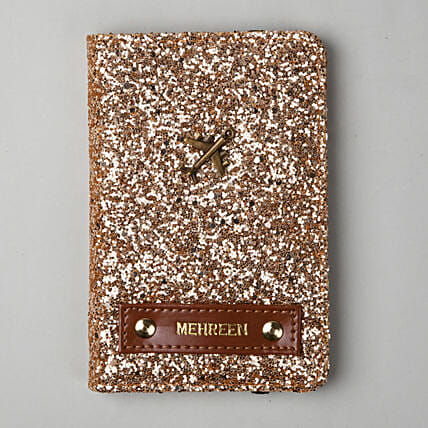Personalised Rose Gold Glitter Passport Cover: Personalised Accessories