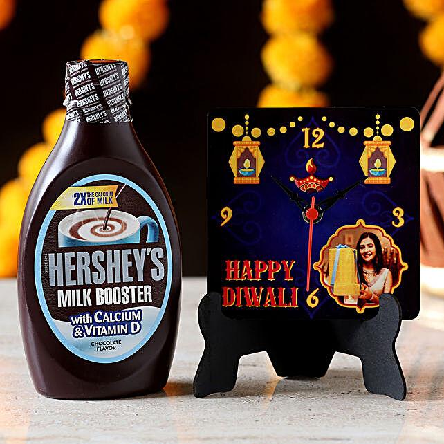 Personalised Table Clock & Hershey's Milk Booster: