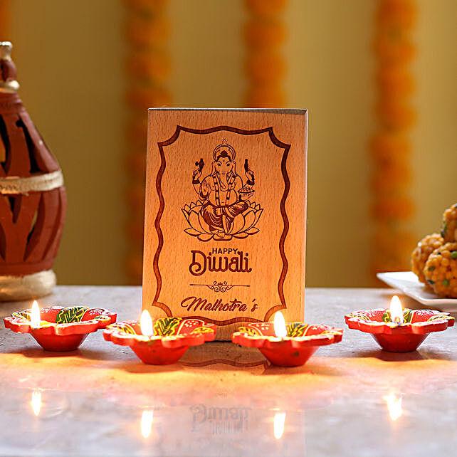 Personalised Diwali Plaque & Diyas: Send Diwali Gifts for Parents