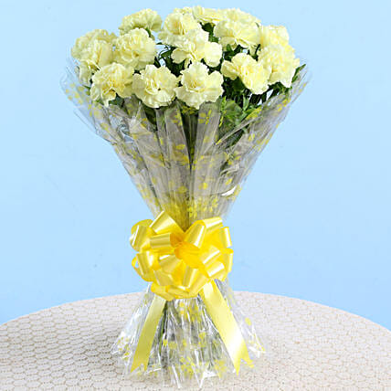 Amber Yellow Carnations Bouquet: Send Flower Bouquets