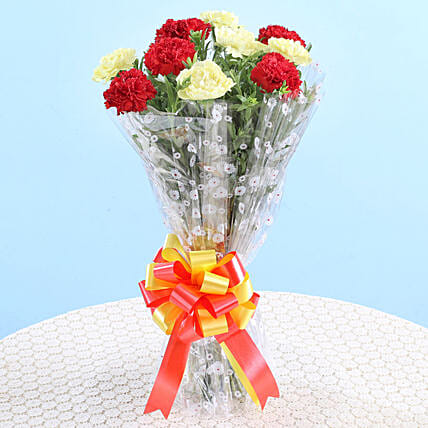 Bunch Of Red & Yellow Carnations: Send Carnations