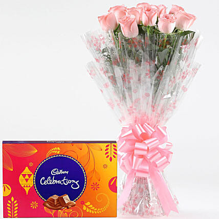 Pink Roses With Cadbury Celebrations: Cadbury Chocolates