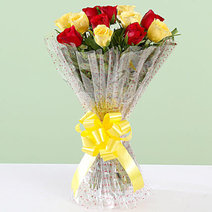 Beautiful Bouquet Of Red & Yellow Roses: