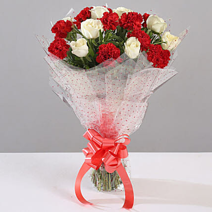 White Roses & Red Carnations Bouquet: