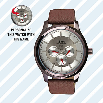 Personalised Classy Brown Watch For Him: Buy Watches