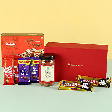 Salsa Almonds & Soan Papdi Gift Hamper: Sweets Delivery
