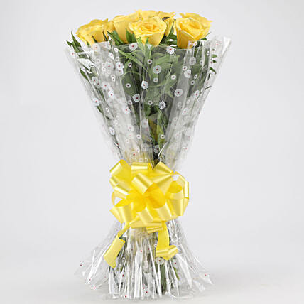Vibrant Yellow Roses Bouquet: Send Flower Bouquets