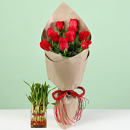Bouquet Of Red Roses & Lucky Bamboo Combo: Red Flowers