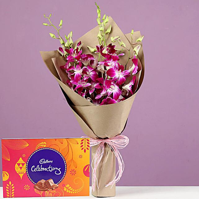 Purple Orchids Bouquet & Cadbury Celebrations: Purple Flowers