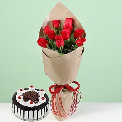 Red Roses With Black Forest Cake: