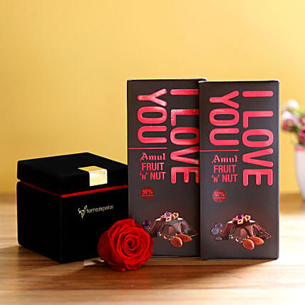 Forever Red Rose & Amul Chocolates: Send Flowers and Chocolates