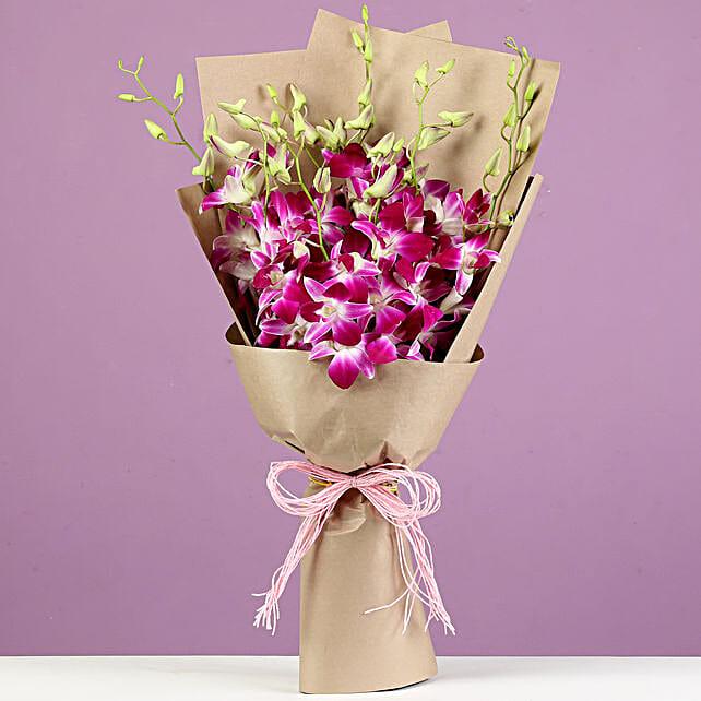 Beautiful Royal Orchids Bouquet: Purple Flowers