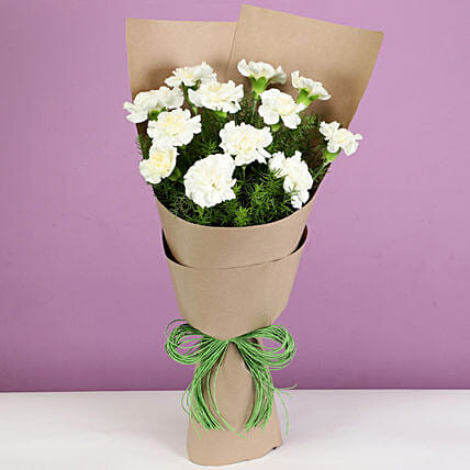 Beautiful White Carnations Bouquet: