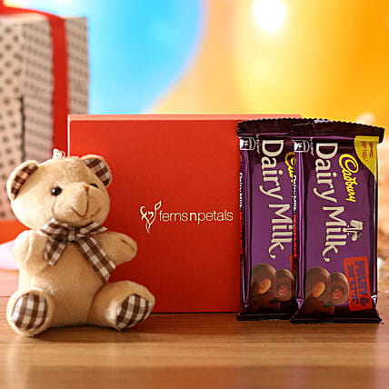 Cuddly Bear & Dairy Milk Fruit N Nut Combo: Anniversary Gifts