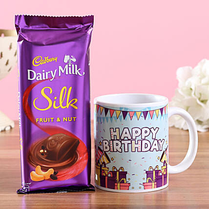 Birthday Wishes Mug & Dairy Milk Silk: Combo Gifts