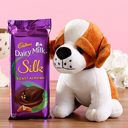 Adorable Dog Soft Toy & Silk Chocolate: Combo Gifts