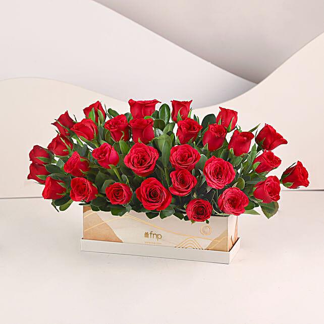 Velvety Love- 30 Red Roses Box: Red Flowers