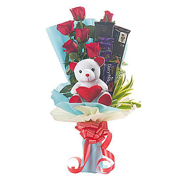 Roses, Teddy Bear & Chocolates Bouquet: