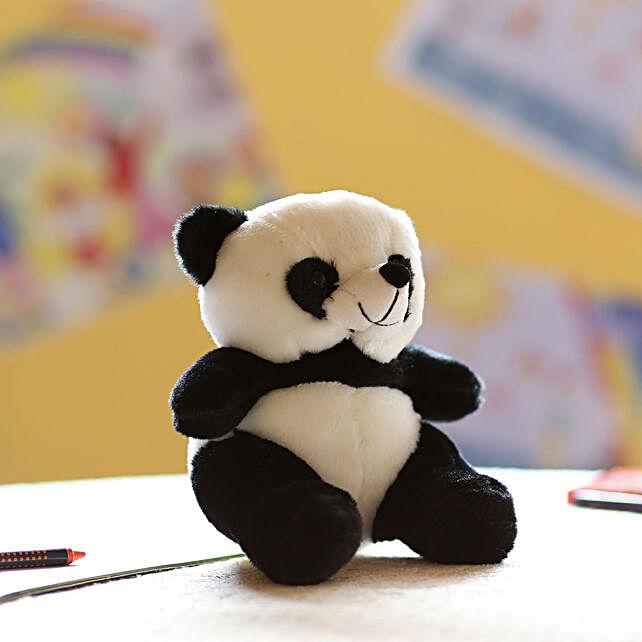 White & Black Sitting Panda Soft Toy: Send Soft Toys