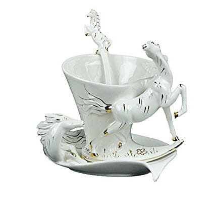White Horse-Themed Cup & Saucer Set: Unusual Gifts