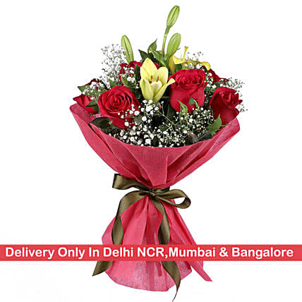 Yellow Asiatic Lily & Red Roses Bunch: