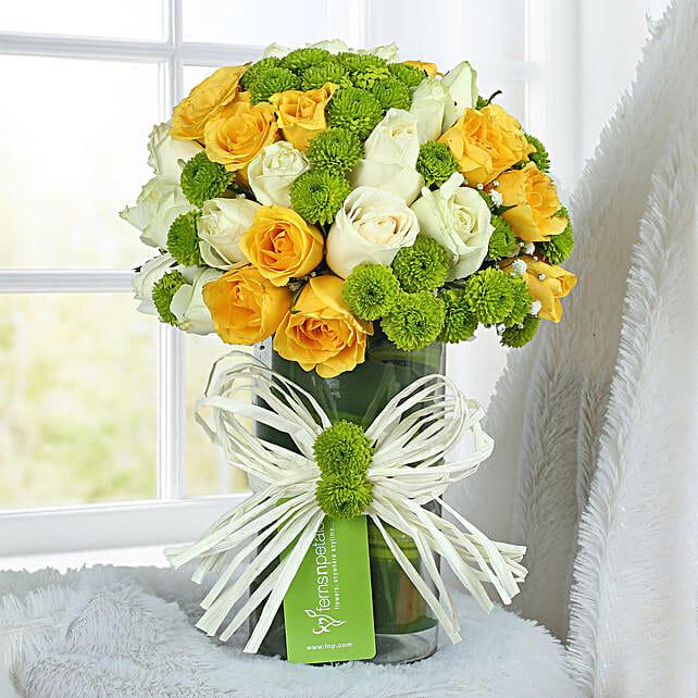 Yellow Rose Arrangement: Send Chrysanthemums